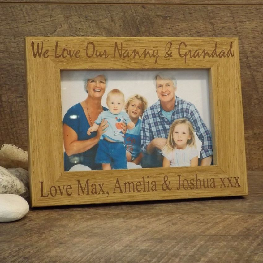 Personalised Wooden Photo Frame I Love My Nanny & Grandad Grandparents Gift